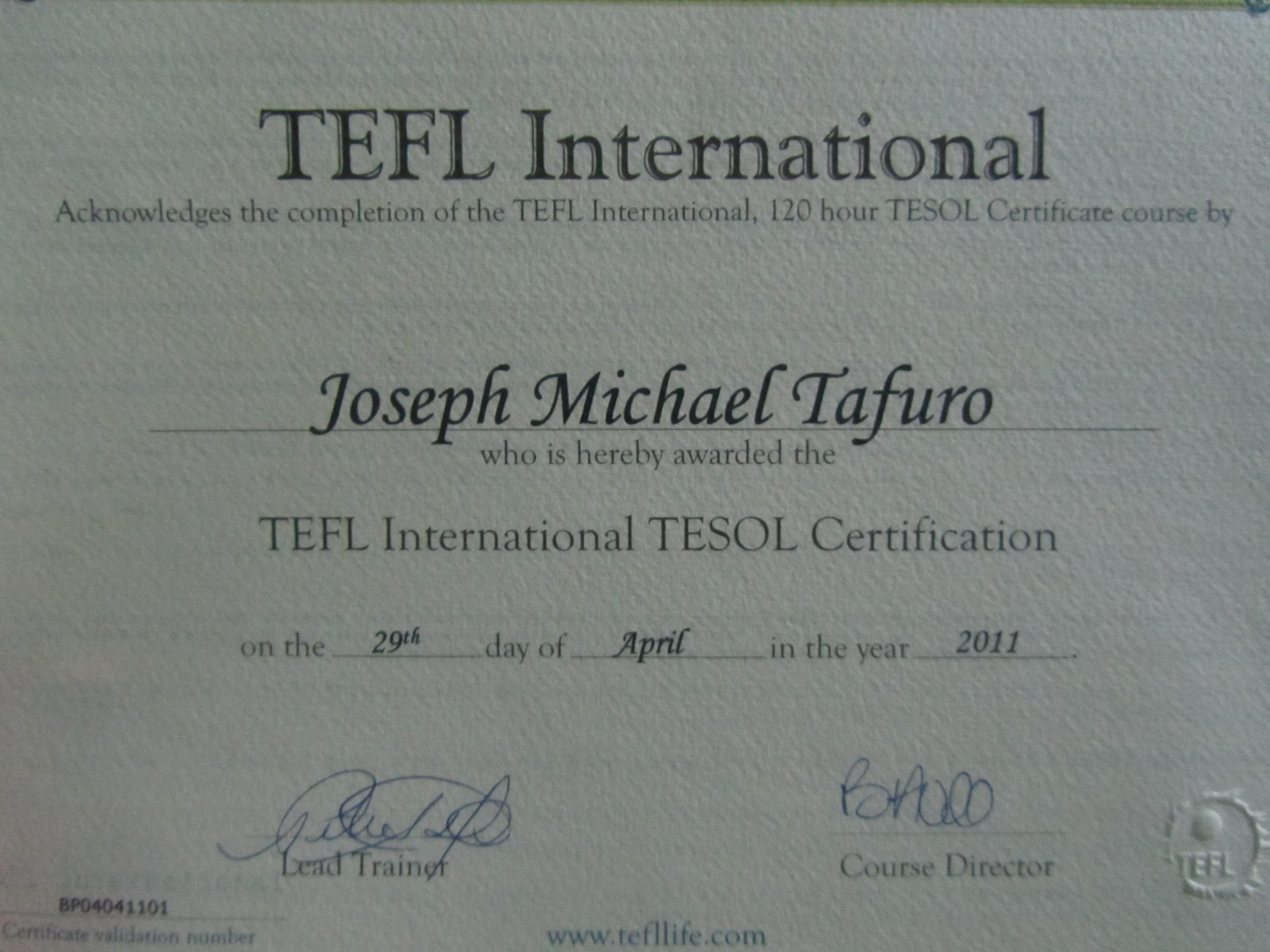Tesol Certified Tefl International Joey Goes Global